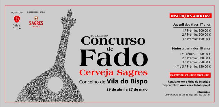 Inscrições para Concurso de Fado Cerveja Sagres Concelho de Vila do Bispo
